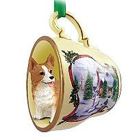 Welsh Corgi Pembroke Tea Cup Snowman Holiday Ornament