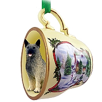 Norwegian Elkhound Tea Cup Snowman Holiday Ornament