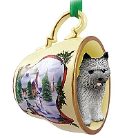 Cairn Terrier Gray Tea Cup Snowman Holiday Ornament