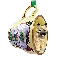 Cairn Terrier Red Tea Cup Snowman Holiday Ornament