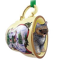 Cairn Terrier Brindle Tea Cup Snowman Holiday Ornament