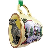Greyhound Brindle Tea Cup Snowman Holiday Ornament