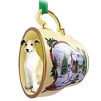 Greyhound Tan & White Tea Cup Snowman Holiday Ornament