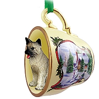 Akita Gray Tea Cup Snowman Holiday Ornament