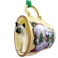 Akita Fawn Tea Cup Snowman Holiday Ornament