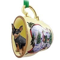 Miniature Pinscher Tan & Black Tea Cup Snowman Holiday Ornament