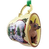 Miniature Pinscher Red & Brown Tea Cup Snowman Holiday Ornament