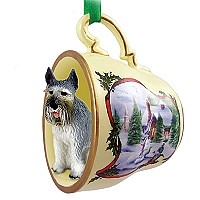 Schnauzer Giant Gray Tea Cup Snowman Holiday Ornament