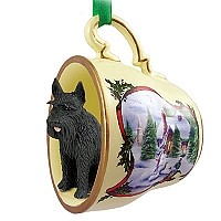 Schnauzer Giant Black Tea Cup Snowman Holiday Ornament