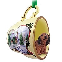 Dachshund Longhaired Red Tea Cup Snowman Holiday Ornament