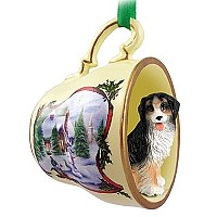 Bernese Mountain Dog Tea Cup Snowman Holiday Ornament