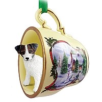 Jack Russell Terrier Brown & White w/Rough Coat Tea Cup Snowman Holiday Ornament