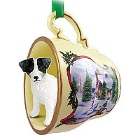Jack Russell Terrier Black & White w/Rough Coat Tea Cup Snowman Holiday Ornament