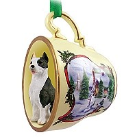 Pit Bull Terrier Brindle Tea Cup Snowman Holiday Ornament