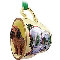 Bloodhound Tea Cup Snowman Holiday Ornament