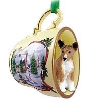 Basenji Tea Cup Snowman Holiday Ornament