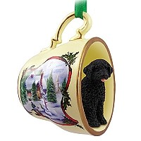 Portuguese Water Dog Tea Cup Snowman Holiday Ornament