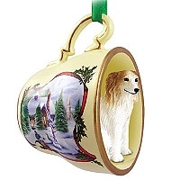 Borzoi Tea Cup Snowman Holiday Ornament
