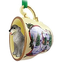 Irish Wolfhound Tea Cup Snowman Holiday Ornament