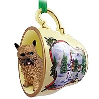 Norwich Terrier Tea Cup Snowman Holiday Ornament