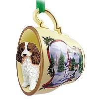 Cavalier King Charles Spaniel Brown & White Tea Cup Snowman Holiday Ornament