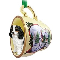 Cavalier King Charles Spaniel Black & White Tea Cup Snowman Holiday Ornament