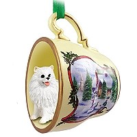 American Eskimo Miniature Tea Cup Snowman Holiday Ornament