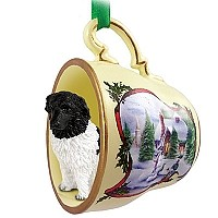 Landseer Tea Cup Snowman Holiday Ornament