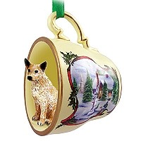 Australian Cattle Red Dog Tea Cup Snowman Holiday Ornament