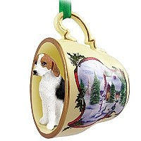 American Fox Hound Tea Cup Snowman Holiday Ornament