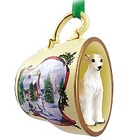 Whippet Tan & White Tea Cup Snowman Holiday Ornament