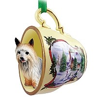 Silky Terrier Tea Cup Snowman Holiday Ornament