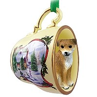 Border Terrier Tea Cup Snowman Holiday Ornament