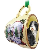 Bearded Collie Tea Cup Snowman Holiday Ornament