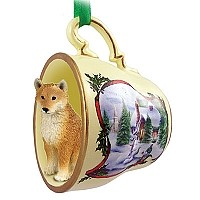 Shiba Inu Tea Cup Snowman Holiday Ornament