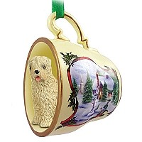Soft Coated Wheaten Terrier Tea Cup Snowman Holiday Ornament