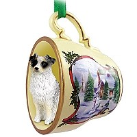 Australian Shepherd Blue Tea Cup Snowman Holiday Ornament