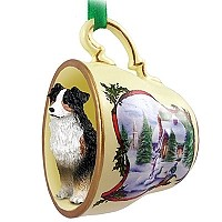 Australian Shepherd Tricolor Tea Cup Snowman Holiday Ornament