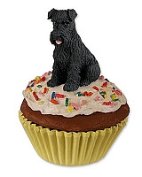 Schnauzer Black w/Uncropped Ears Pupcake Trinket Box