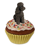 Poodle Chocolate w/Sport Cut Pupcake Trinket Box
