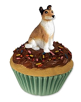 Collie Smoth Hair Pupcake Trinket Box