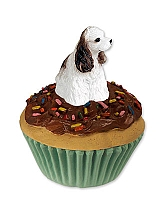 Cocker Spaniel Brown & White Pupcake Trinket Box