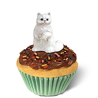 White Persian Kittycake Trinket Box