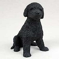 Poodle Black Puppy Figurine