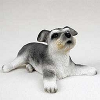 Schnauzer Gray w/Uncropped Ears Puppy Figurine