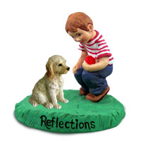 Labradoodle Cream Reflections w/Boy Figurine