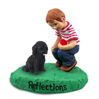 Cockapoo Black Reflections w/Boy Figurine