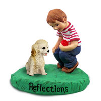 Cockapoo Blond Reflections w/Boy Figurine