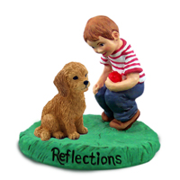 Goldendoodle Reflections w/Boy Figurine