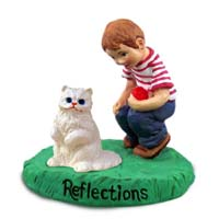 White Persian Cat w/Boy Figurine